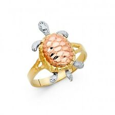 EJLR30415 - Solid 14K tricolor gold Turtle ring with diamond-cut accents