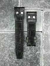 20mm Black Leather Strap Watch Band with Rivet IWC PILOT Portuguese Button 20
