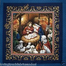 "2 PANELS VIP ""AWAY IN THE MANGER"" CHRISTMAS CHRISTIAN JESUS PILLOW FABRIC PANELS"
