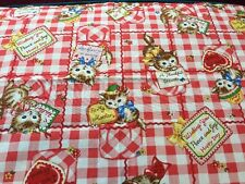 RPE314C Kittens Retro Cats Love Notes Cats Plaid Japanese Cotton Quilt Fabric