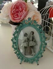 Photo frame oval duck egg blue  sass and belle vintage shabby chic rustic