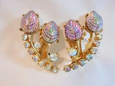 Vintage Carnival Glass Earrings AB Glass Rhinestones Gold Plated Tone 1950's WOW