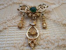 Vintage Brooch Pin Green Clear Glass RHINESTONES Dangle Gold Tone Gaudy