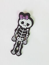 Embroidered White/Black Bone Skeleton Iron On/Sew on Patch- Free ship!