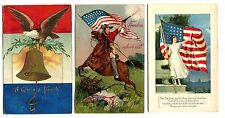 3 Patriotic Postcards - 4th of July, Dear Flag of Our Country, Freedom Above All