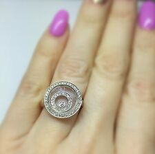 18K White Gold Floating Happy Diamond Two Circle Round Ring One Floating 1 Stone