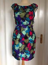 Stunning SIZE 10 Multicoloured *LIPSY* Pure Silk DRESS Frilled Neckline Backless