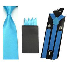 Men Solid Skinny Neckties Ties 4 Folds Hanky Pocket Square Braces Suspender Set