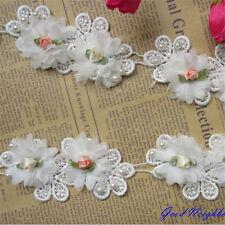 1yd Vintage Flower Pearl Lace Edge Trim Ribbon Wedding Applique DIY Sewing Craft