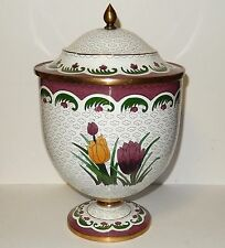 HUGE CHINESE CLOISONNE ENAMEL SPRING TULIPS COMPOTE CANISTER JAR BOWL BOX