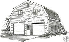 30 x 40 2 Car Gambrel Style Garage Building Plans with Second Level Walk up Loft