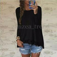 UK Womens Lace Crochet Casual Blouse Loose Casual Tops Shirt Pullover Sizes 8-24
