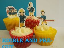 fireman sam X24 edible stand up cup cake toppers, wafer paper *pre-cut*