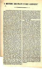 Documento Misteri dei Frati e Conventi Condanna Comportamento Clero Risorgimento