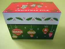 VINTAGE CHRISTMAS FILE RECIPE TIN BOX WITH BELLS, BALL ORNAMENTS AND HOLY DESIGN