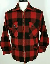 Vtg 50s 60s 5 Brothers Buffalo plaid 100% wool hunting jacket coat zip M - L