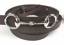 "AUTHENTIC New Gucci Silver Stirrup Buckle Thin Leather Belt #282349, 33""-37"" NWT"