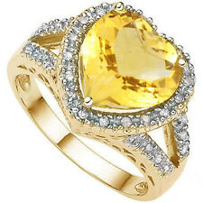 3.51 CTW CITRINE & GENUINE DIAMOND PLATINUM OVER Y 925 STERLING HEART RING