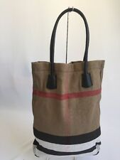 NEW BURBERRY SHOPPING TOTE NOVA CHECK LEATHER WITH POUCH