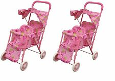 2 PC pink double stroller for baby doll great gift for any occasion