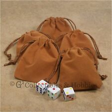 """NEW Set of 5 Small Brown RPG Dice Bags 3"""" x 4"""" Velveteen Cloth Bag Counter Pouch"""