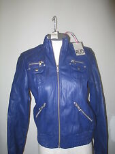 RUD by Rudsak Faux Leather Stand Collar Bomber Jacket S Blue NWT