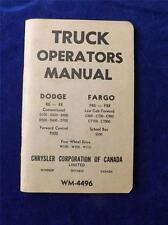 TRUCK OPERATOR MANUAL DODGE R6-R8 FARGO FR6-FR8 CHRYSLER CORPORATION CANADA 1960