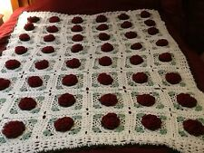 Hand made Crochet White 3D Burgundy Red Roses Granny Square Afghan Throw 68 x 48