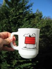 Snoopy Allergic To Morning Fire King Milk Glass Mug Cup Peanuts Schultz  1958