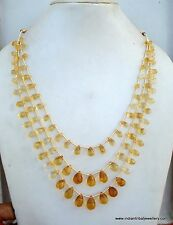 190 CT CITRINE GEM STONES BEAD DROPS NECKLACE STRAND