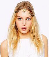 Women Bohemian Retro Gold color Chain Tassel Forehead Metallic Hair Head band