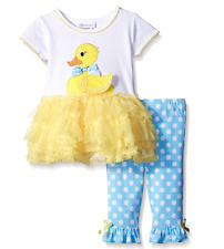 Bonnie Jean Baby Girls Easter Yellow Duck Tutu Dress Outfit Set 24 Months