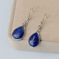 Boucles d`Oreilles Argenté Poire Pierre Lapis Lazuli Bleu Class Retro BB 13