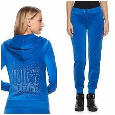 NWT JUICY COUTURE Tracksuit  Velour Woman Embellished Jacket Pants Blue xs
