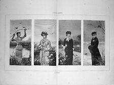 Stampe antiche LE QUATTRO STAGIONI di Louise Abbema 1885 Old print