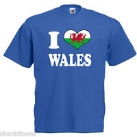 I Love Heart Wales Adults Mens T Shirt 12 Colours Size S - 3XL
