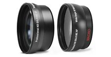 2 Pcs HD Lens Kit Telephoto & Wide Angle Lens For Sony HDR-AX2000