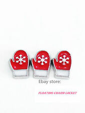 New style 10pcs red gloves Floating Charms Memory Living Glass Locket