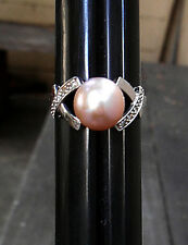 14K White Gold with Natural Lavender Pink Akoya Pearl and Diamonds