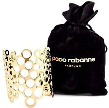 PACO RABANNE Gold Tone Cut Out Bangle Cuff Bracelet Bubble Circle Retail $112