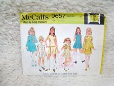 McCall's Sewing Pattern #9657 Sz 12 Step by Step Girls' Jumper or Dress & Vest