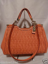 NWT COACH Madison Gathered Twisted TEAROSE Leather Carrie Satchel Purse 27681