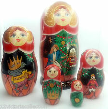 NUTCRACKER Russian Fairytale  Babyshka Hand Painted Nesting DOLL Christmas story