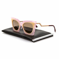 Fendi 0117/S Orchid Cat Eye Sunglasses LAQUT Pink & Peach / Tobacco Brown Lenses