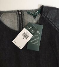 Ralph Lauren Black Denim Delance Sheath Dress Leather Cap Sleeve 14 NWT $149