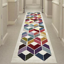 MULTI-COLOURED GEMINI DAIMOND HALL RUNNER Hallway Carpet Rug NEW 80x400cm