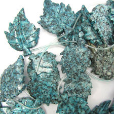 "54mm blue kiwi jasper carved leaf beads 12"" strand"