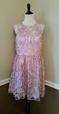 NWT Modcloth Dress 14 Mauve Lace Cocktail Formal Illusion Neckline by Decode 1.8