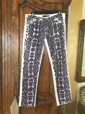 Just Cavalli White/purple Black Animal Print Jeans Size 31