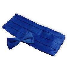 Cummerbund & Bow Tie Set, Blue Satin-Look Unisex Tux Cumberbund Tie Combo, NEW